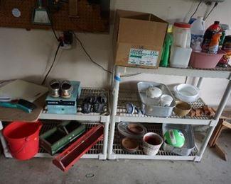 shelving, garage items