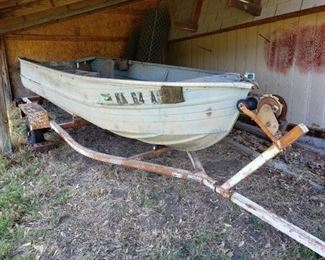 Aluminum Boat (no motor) with Rolco Boat Trailer