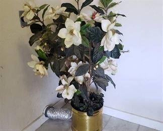 Faux Magnolia Tree in brass planter ~ 51 in.
