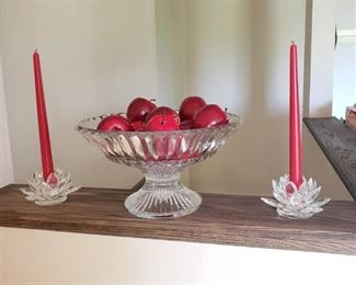 Crystal Bowl and Crystal Candle Holders