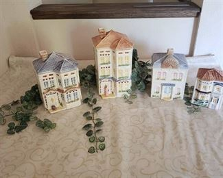 VINTAGE AVON TOWNHOUSE CANISTER COTTAGE COLLECTION SET ~ B, C, J and L