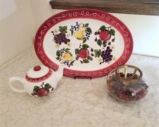 Large Platter, Tea pot and potpourri candle holder