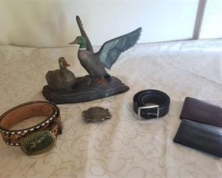 Belt Buckles, Wallet's and Holland Mold Duck Statue