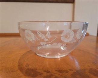 Avon Crystal Hummingbird Serving Bowl