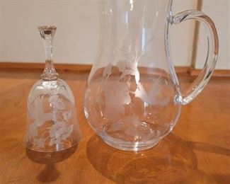 Crystal Hummingbird Bell and Pitcher from Avon