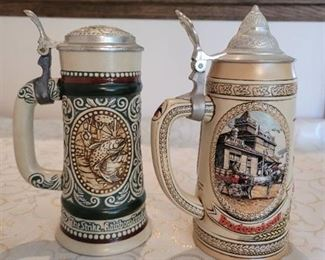 Budweiser Beer Stein and Trout Fishing Beer Stein