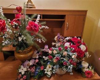 Faux Flower Arrangements and 2 Ceramic Vases