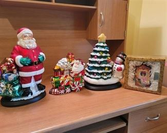 4 Shiney Christmas Figures~ 1 is Ornament and 1 is Cookie Jar