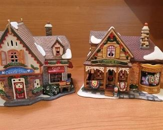 2 Santa's Workbench Village Pieces~ Candleshop and Needlework and Quilts