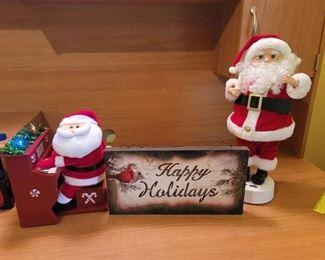 2 Action Santas and Sign