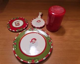Christopher Radko Porcelain Christmas Dishes and Candle