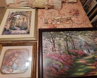 3 Large Framed Pictures ~ 1 Small Picture