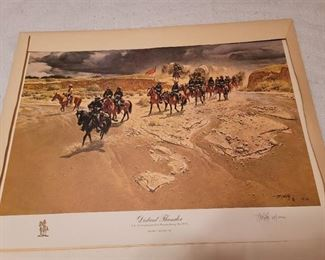 Limited Edition Print - Frank C McCarthy - signed print 68/1000 - Distant Thunder - U.S. Cavalry on patrol in Kansas during the 1870's *SOLD OUT AT PUBLISHER*