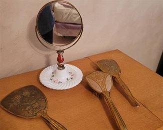 Vintage Mirror and Brush Set
