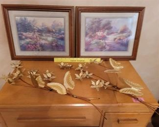 2 Victorian Pictures and Brass Wall Hanging