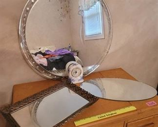 3 Vintage Mirrors and a Clock