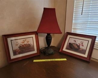 Lamp and 2 Pictures