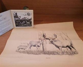 Mule Deer Print 231/1000 and Currier ans Ives Deer Tile