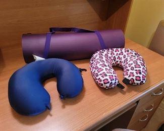 Yoga Mat and 2 Neck Pillows