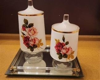 Mirror Tray with 2 Glass Storage or Candle Jars