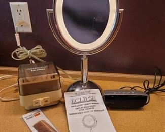 Lighted Vanity Mirror, Jewelry Cleaner, Clock and Wood Comb
