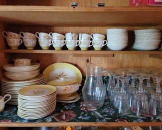 92 pc set of Vintage 1950's Century Service Autumn Gold Dinnerware and 19 pcs of clear drinkware