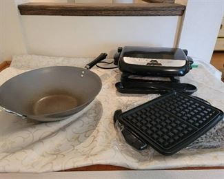 George Foreman Grill and Waffle Maker, Large Wok Pan