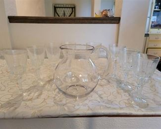 Glass Pitcher and 8 Glasses