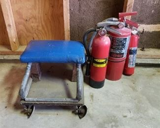Fire Extinguinshers and Rolling Creeper Stool