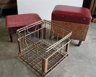 Vintage Milk Crate, Rolling Storage stool and foot stool (needs leg glued in)