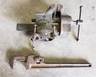 Craftsman 6216 Vise and Craftsman Pipe wrench