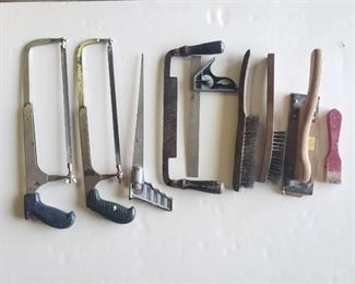 Hand Saws, wire brushes, scaper, level and Hand Sander