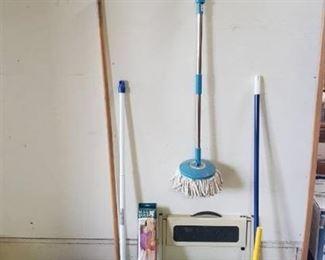 360 Spin mop, broom, step stool, magic holder, plunger, waste baskets and vintage dust pan