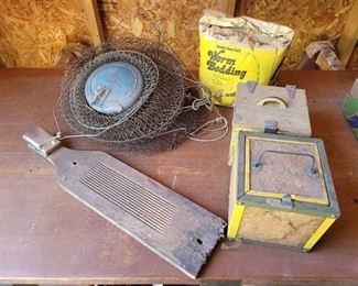 Fish Baskets, Scaling Board and Worm Houses with Worm Bedding