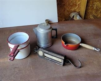 Enamelware, Coffee Pot and Scale
