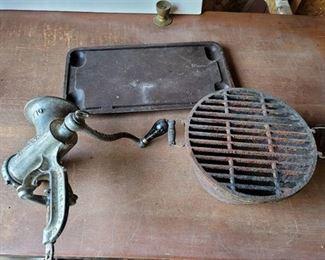 Meat Grinder No. 10, Cooking Pot and Aluminum Cooking Pan