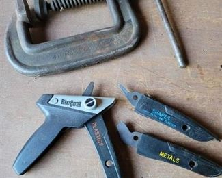Wilson No. 104 C~Clamp and Bernz Cutter for Plastics, Metals and Shapes