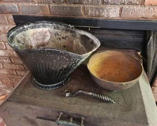 Ash Bucket and Cast Iron Kettle