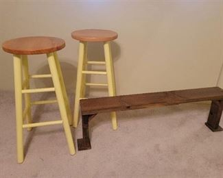 2 Barstools and Foot Rest