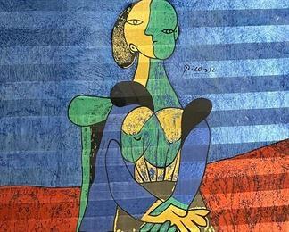 Framed Picasso silk scarf