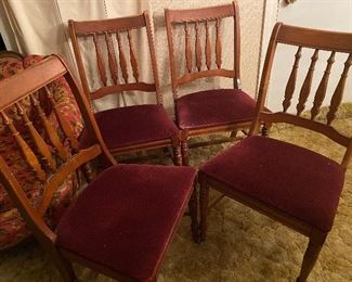 Wooden Chairs with Upholstered Burgundy Seat Covers
