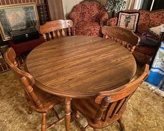 Wooden Dining Room Table with (4) Chairs