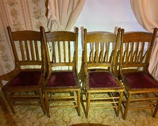 Wooden Chairs with Upholstered Burgundy Cushions