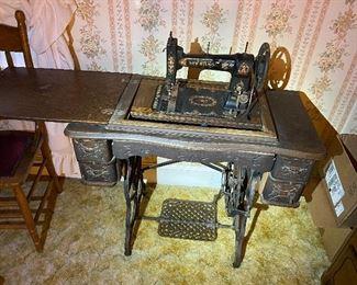 Vintage New Wilson Sewing Machine in Cabinet (Displayed)