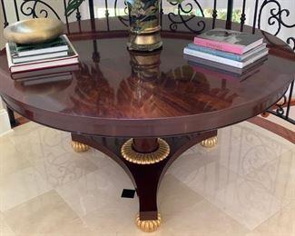 "52. Nancy Corzine George V English Mahogany Pedestal Table w/ 22k Gold Accents (60"")"