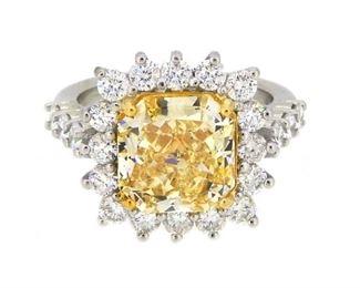 3.04ct Fancy Yellow & 4.07ct Diamond Ring