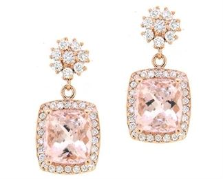 7.72ct Morganite & 1.17ct Diamond Earrings