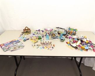 """Large Lot of Lego """"Friends"""" with Minifigures, Some Instruction Books, etc."""