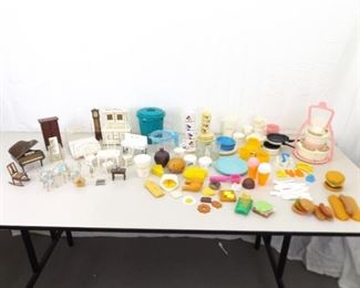 Large Lot of Vintage Doll House Furniture, Doll Dishes, etc.