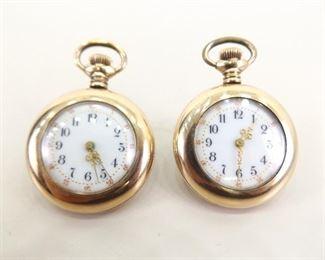 2 Antique 10k Gold Filled Miniature Porcelain Faced Pocket Watches
